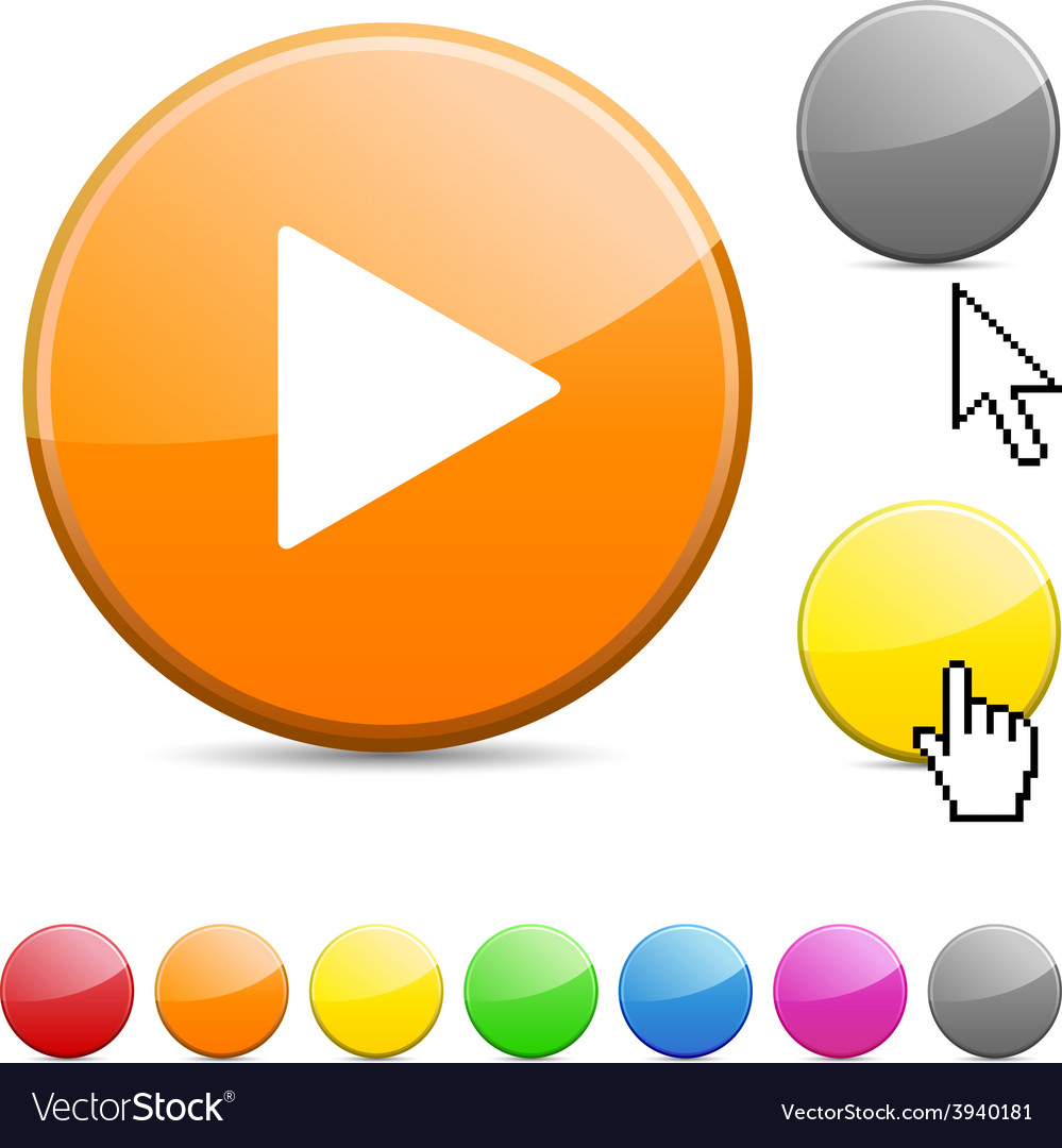 Play glossy button vector