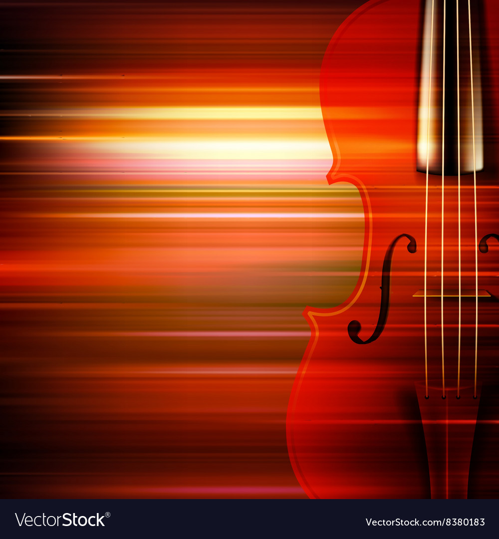 Abstract red blur music background with violin vector