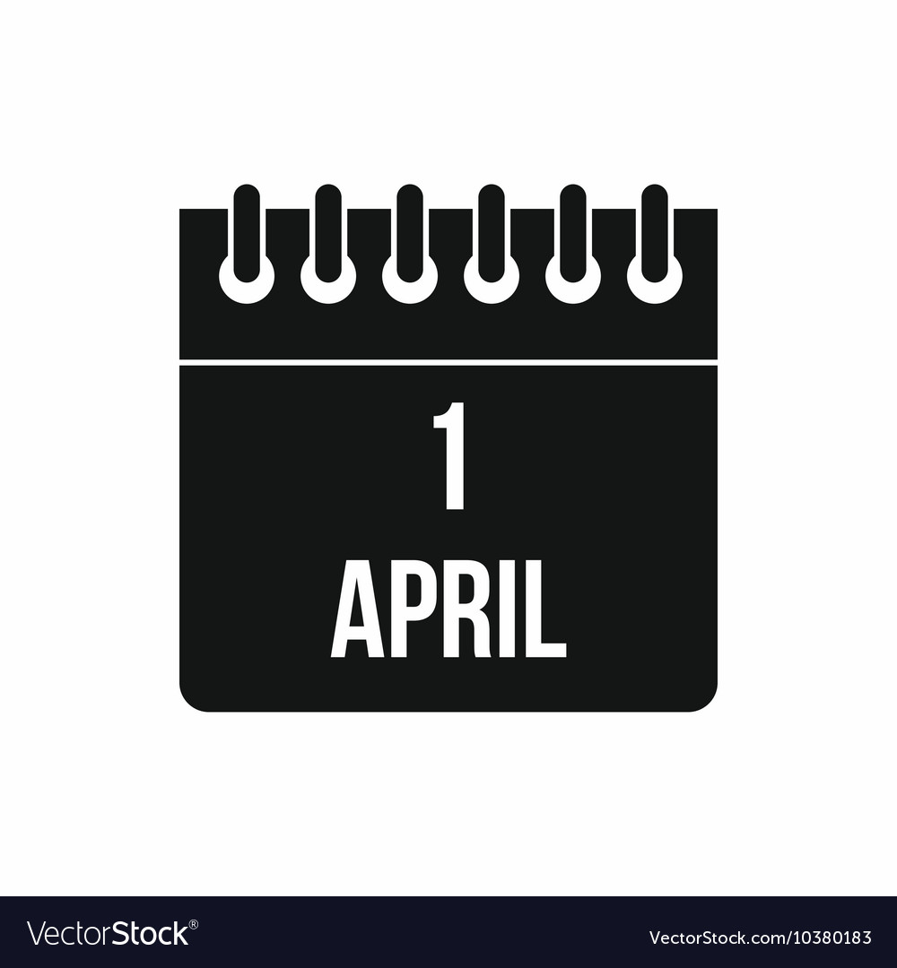 Calendar april 1 icon simple style vector