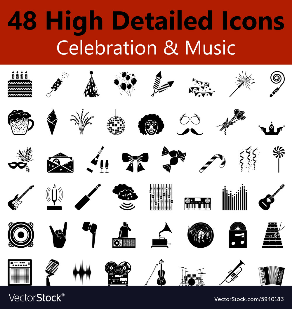 Celebration and music smooth icons vector
