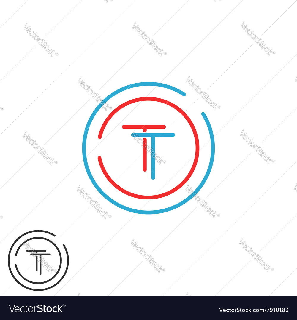 Monogram tt logo letters two hipster initials red vector