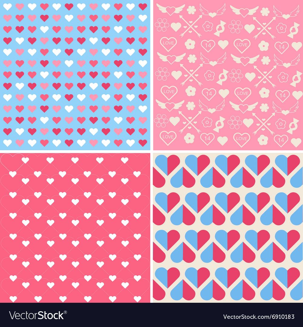 Set of 4 valentines day seamless patterns vector