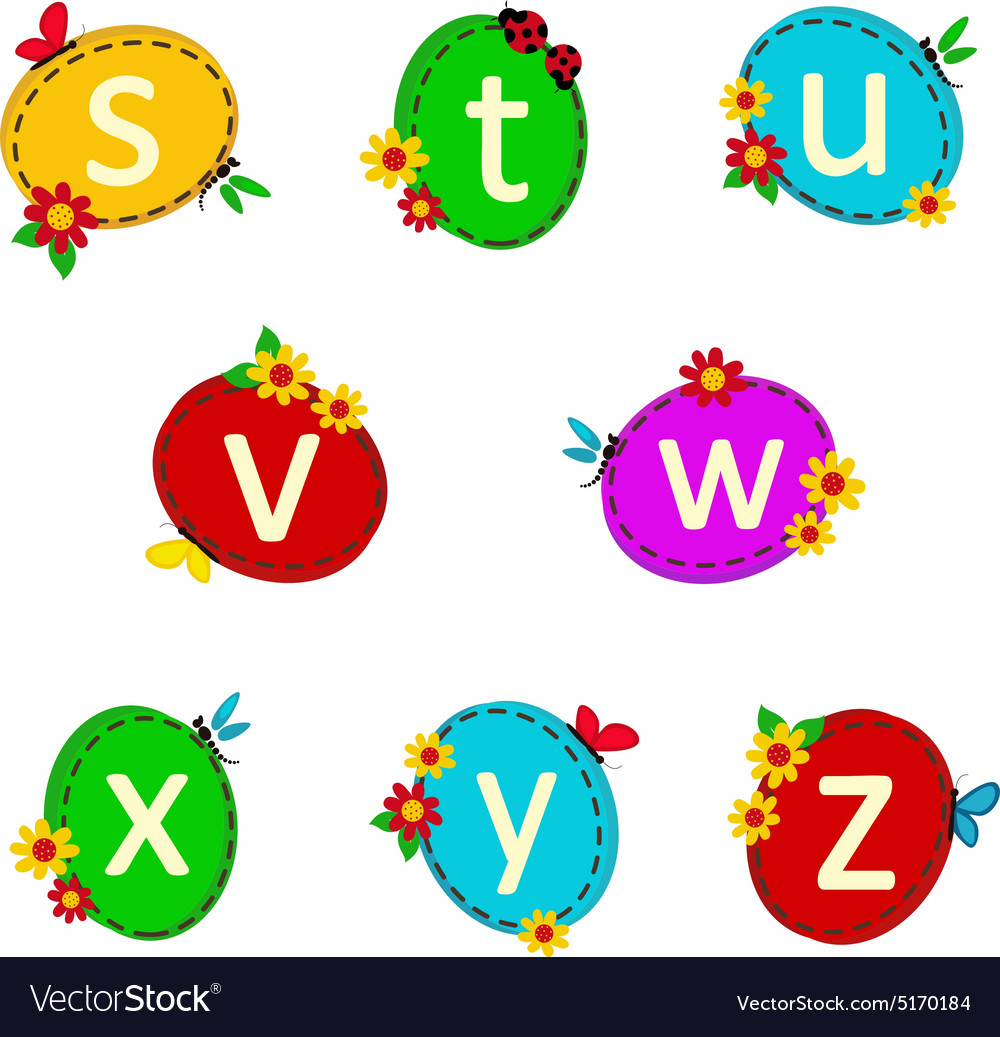 Alphabet oval from s to z vector