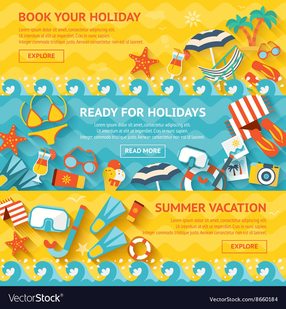 Beach banner flat set vector