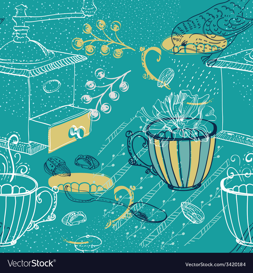 Doodle background with coffee mill flowers and vector