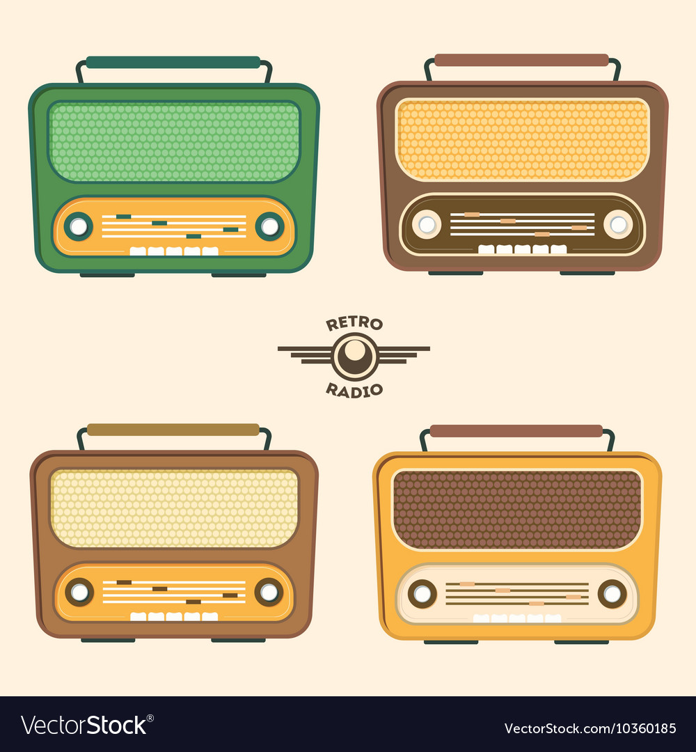 Colorful retro radio set flat design vector