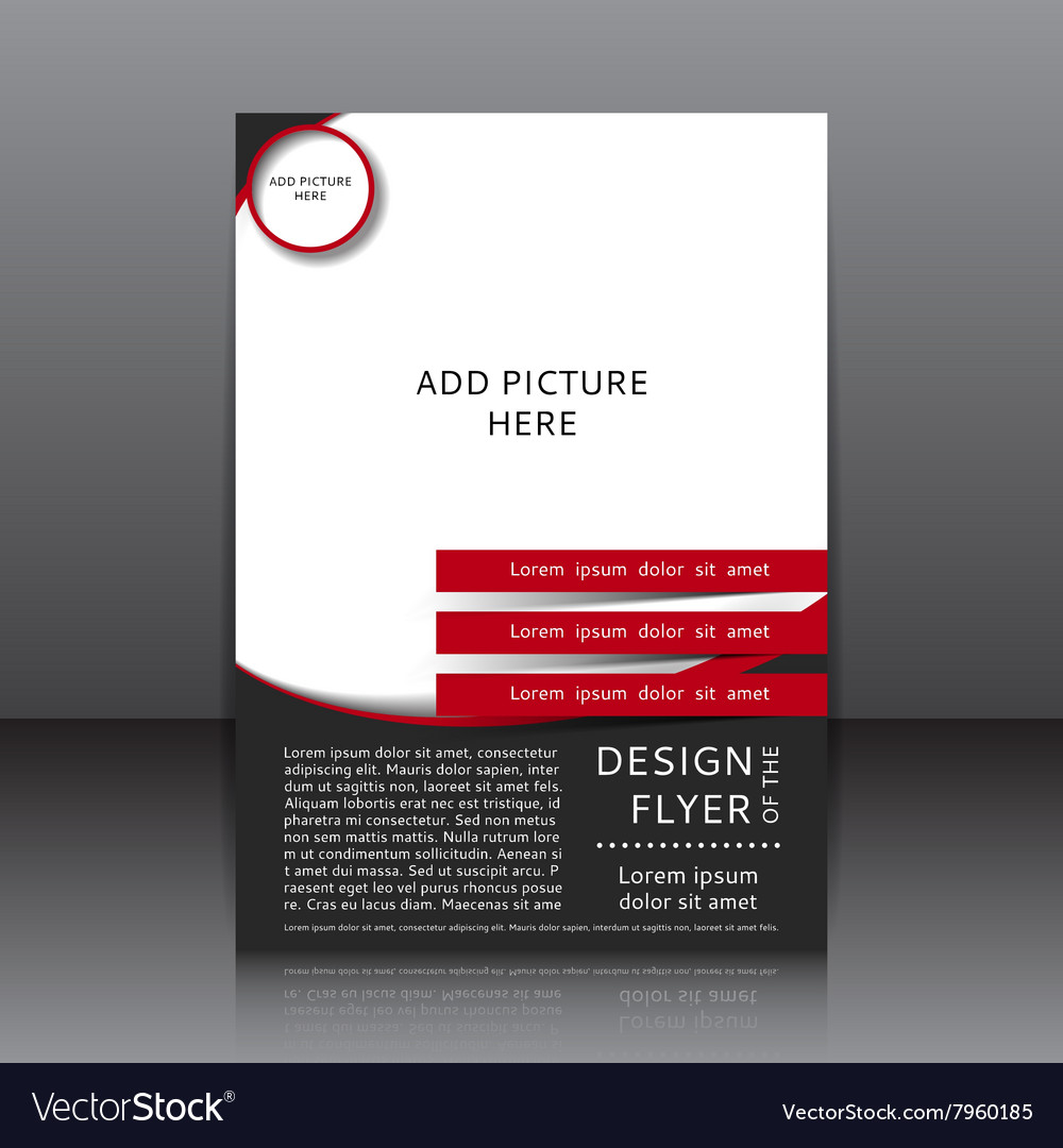 Design of the black and red flyer vector