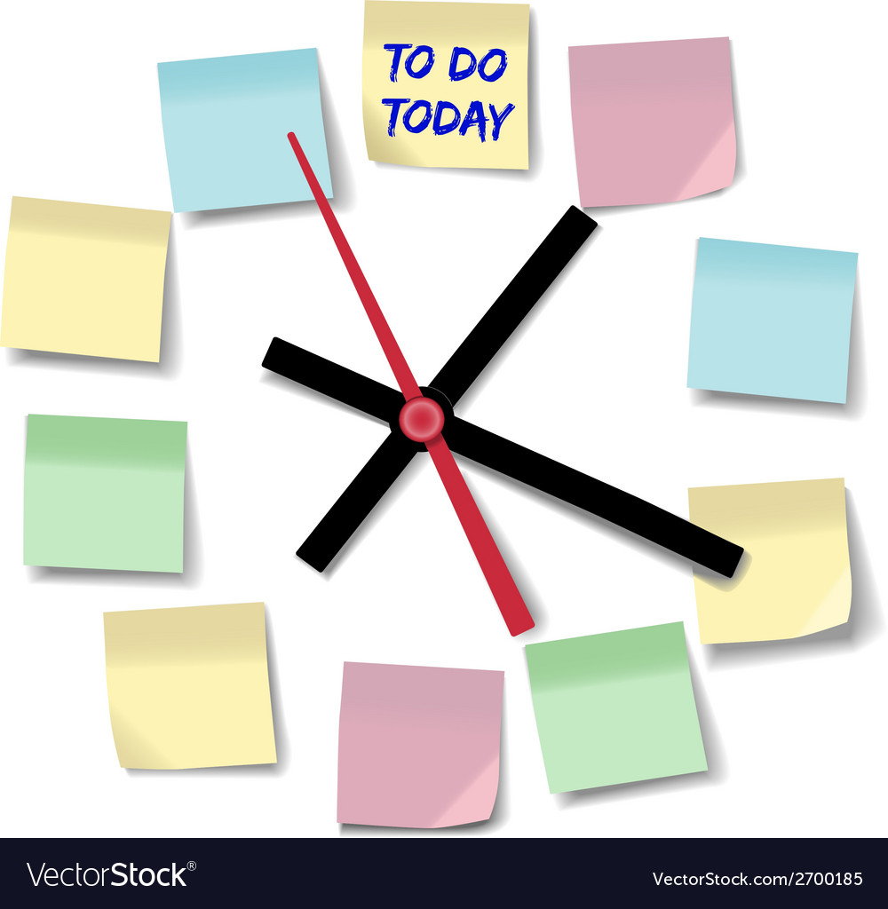 Notes appointment busy to do clock vector