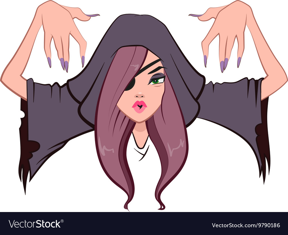 Beautiful woman witch raised her hands up vector