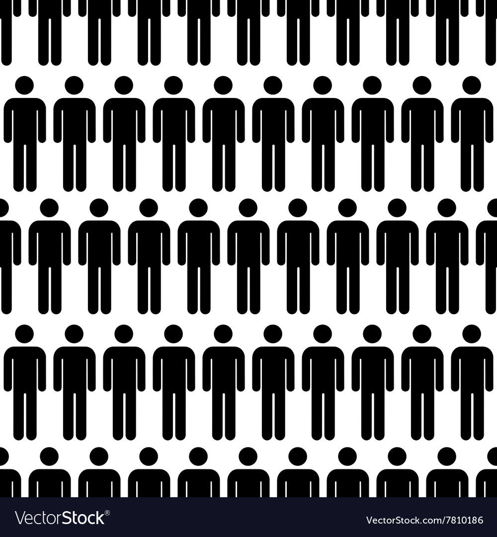 Crowd of black simple men icons seamless pattern vector