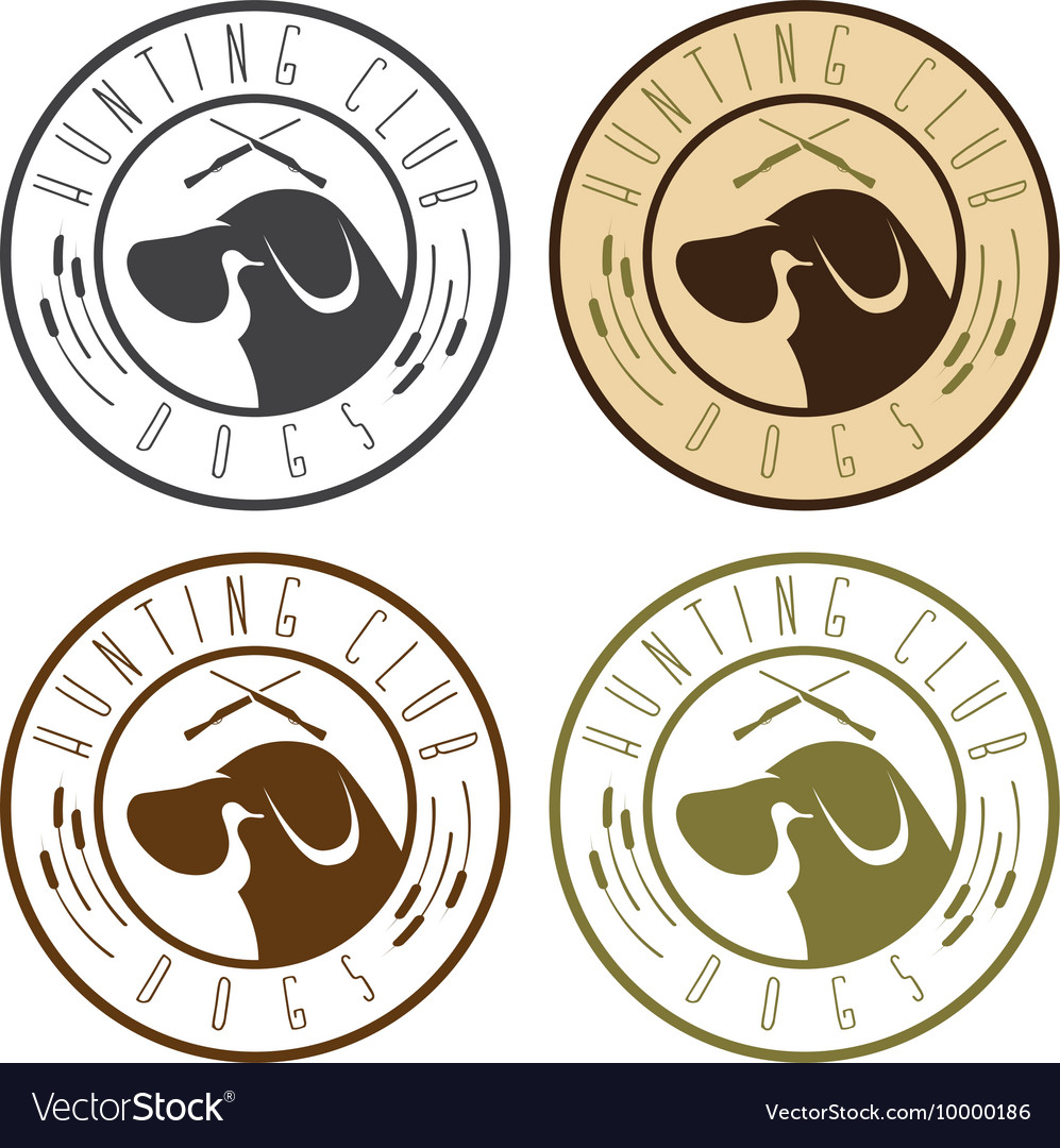 Duck hunting retriever negative space labels set vector