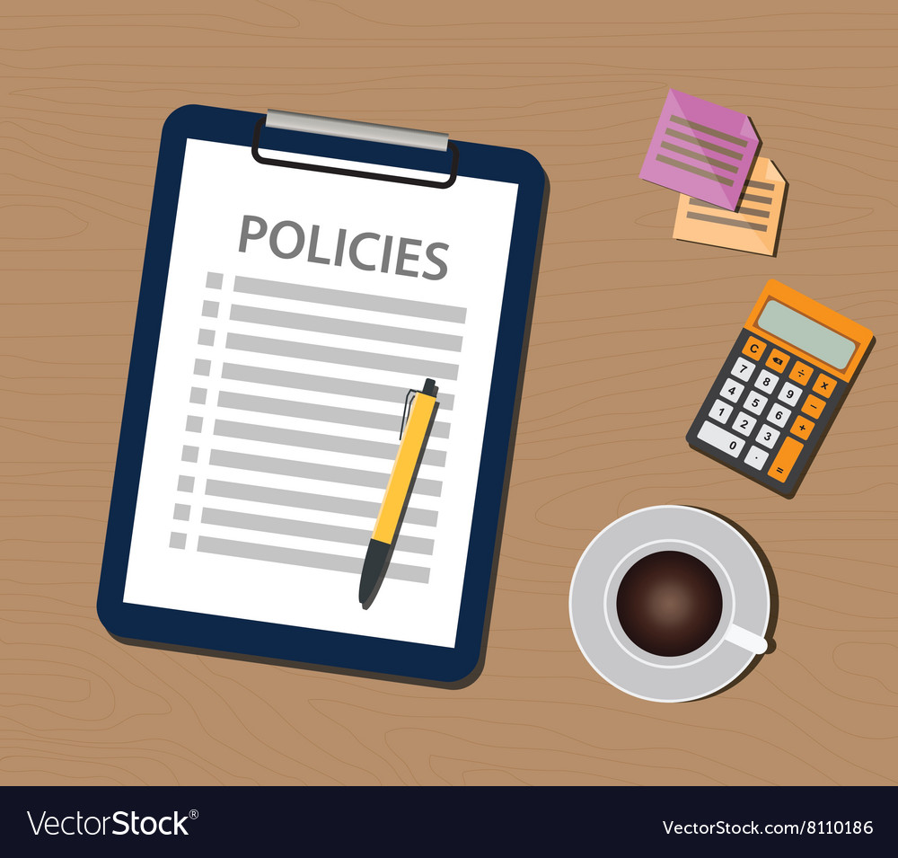 Policies policy concept with clipboard document vector
