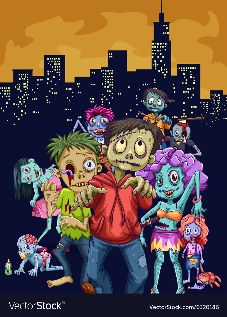 Zombies walking in the city vector