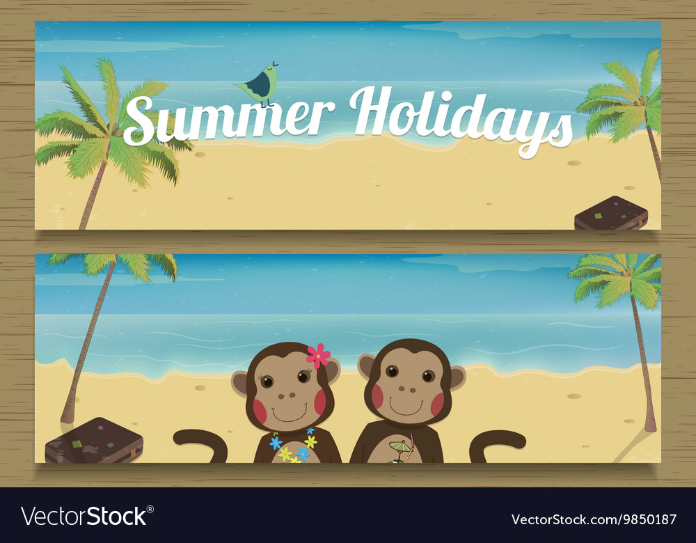 2 summer holidays banner with cute couple monkeys vector