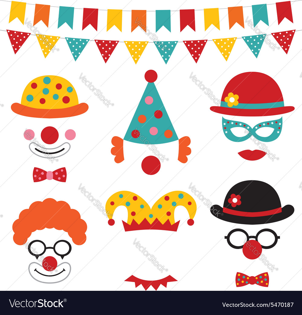 Circus and clown photo booth props vector