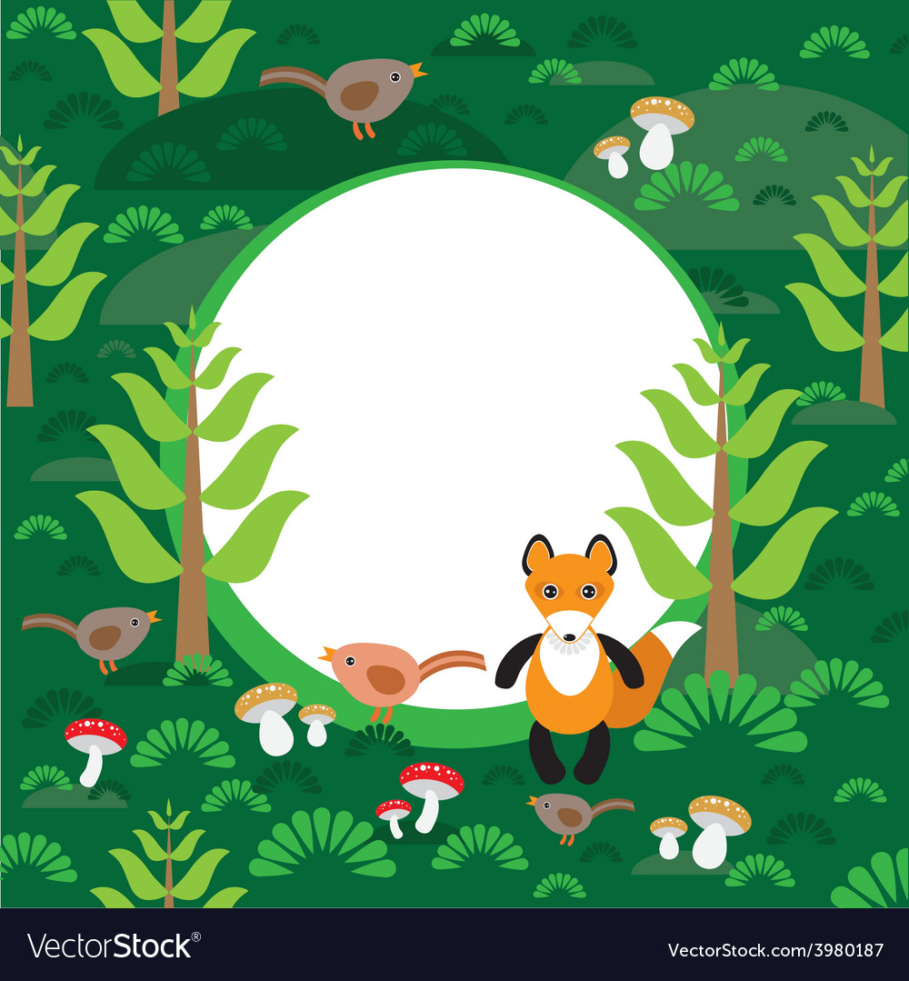 Fox background green forest with fir trees vector