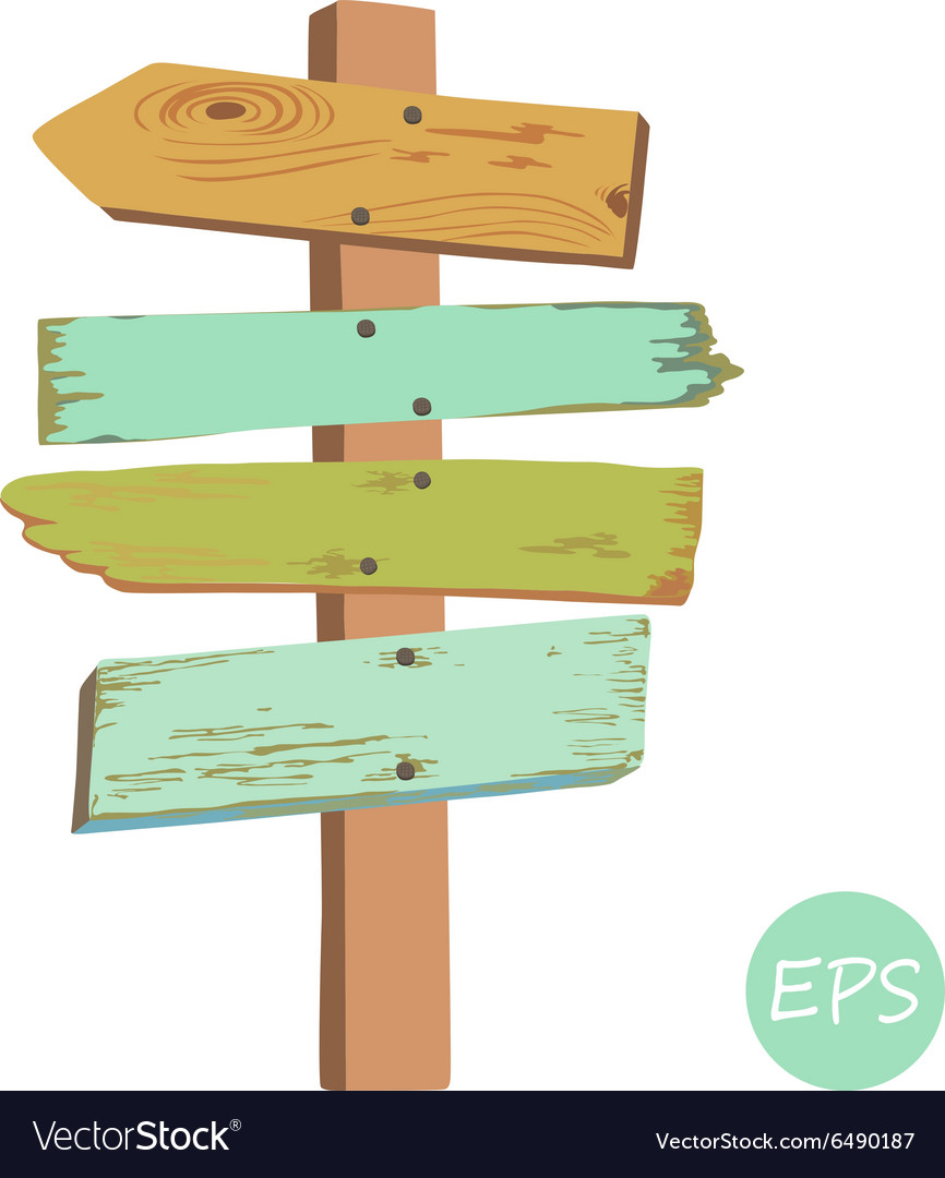Old wooden signpost vector
