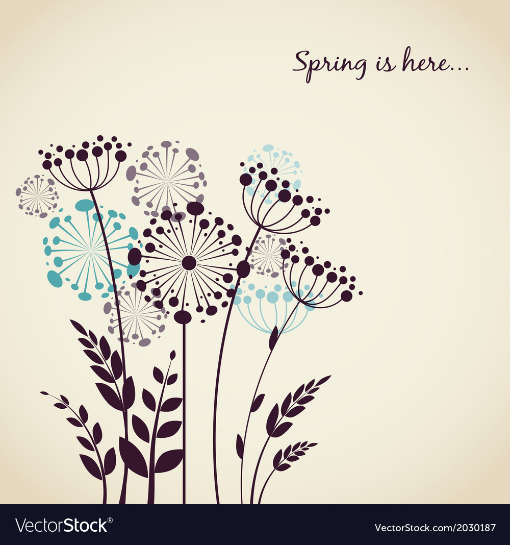 Spring dandelion flowers  background vector