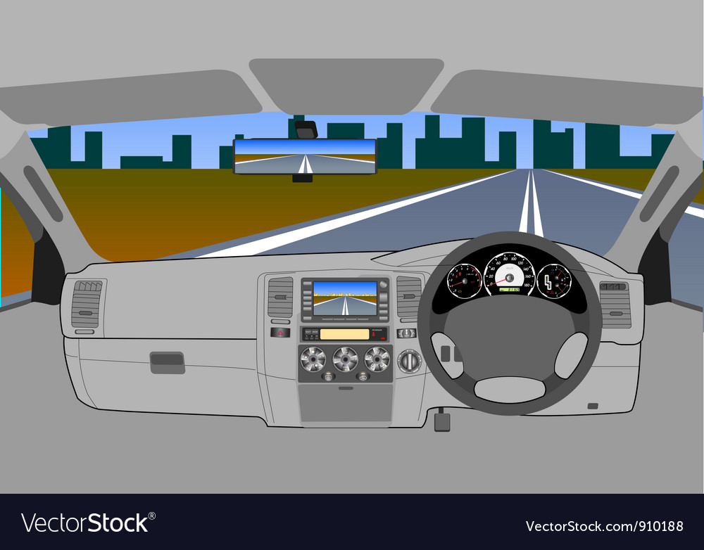 Driving on road vector