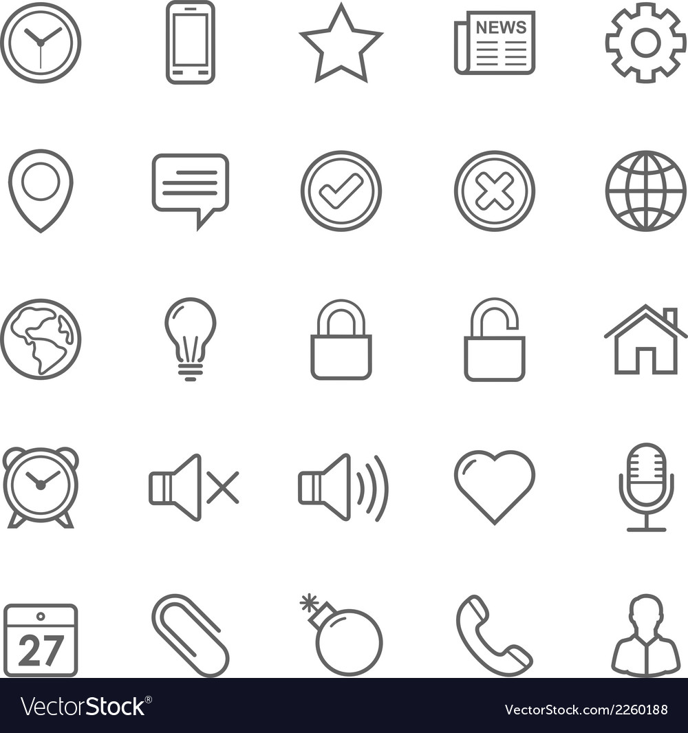 Set of outline stroke general icon vector