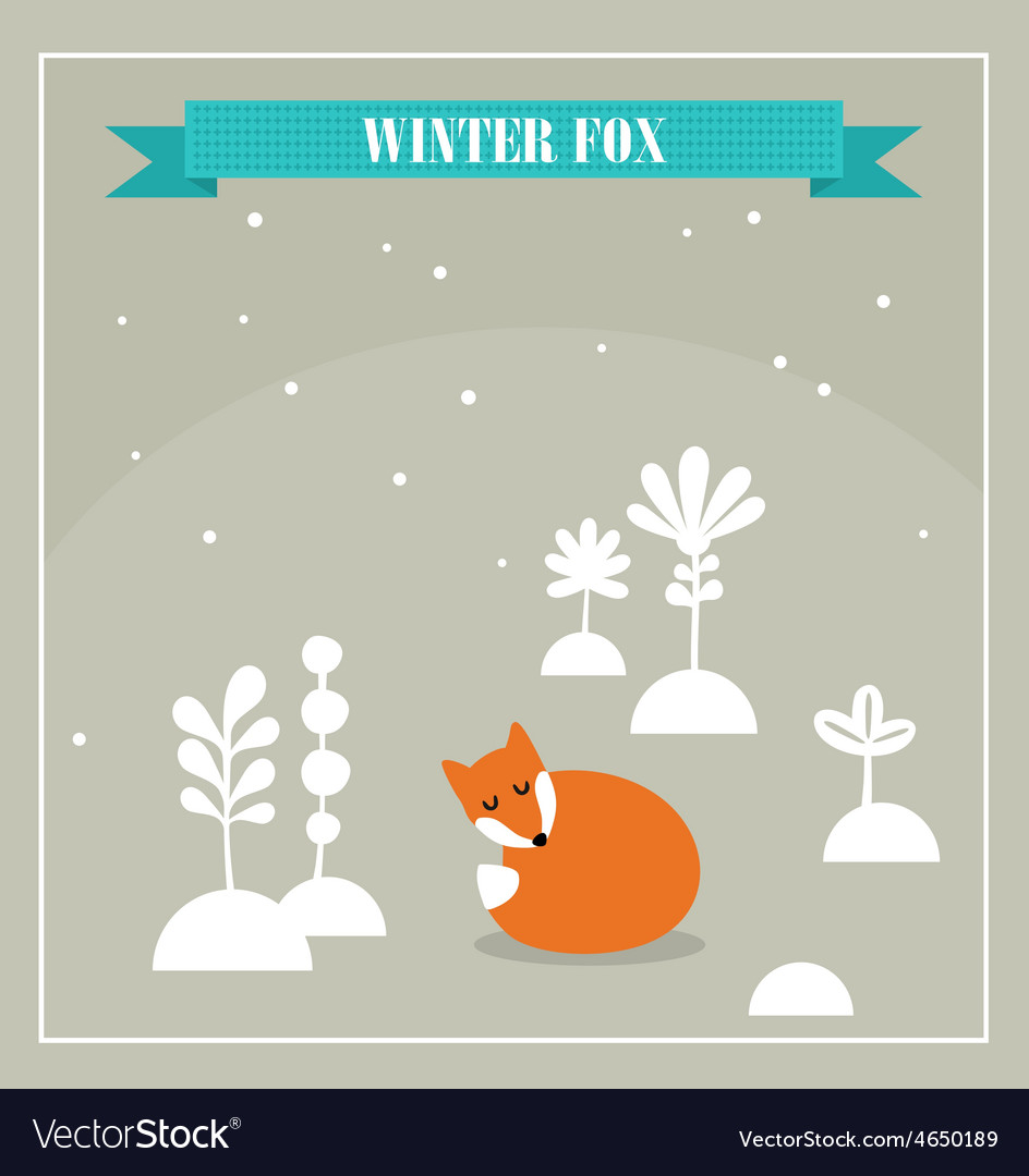 Cute little fox vector