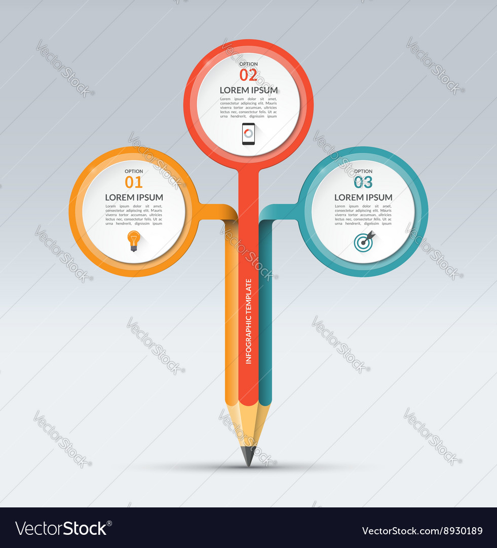 Infographic template with 3 options vector