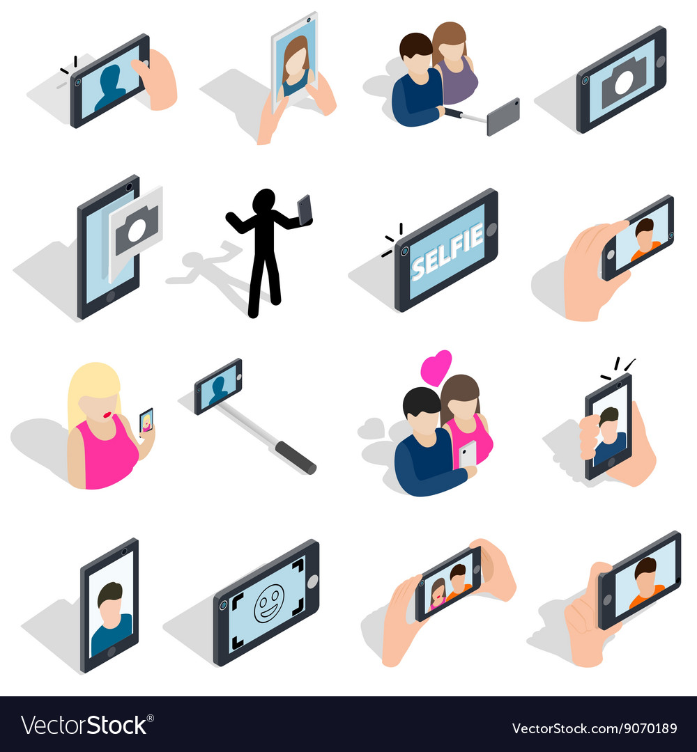 Selfie icons set isometric 3d style vector