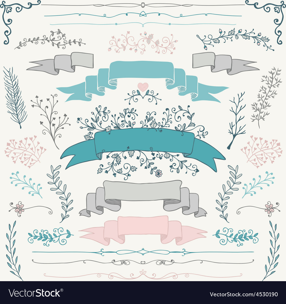 Colorful hand drawn floral design elements vector