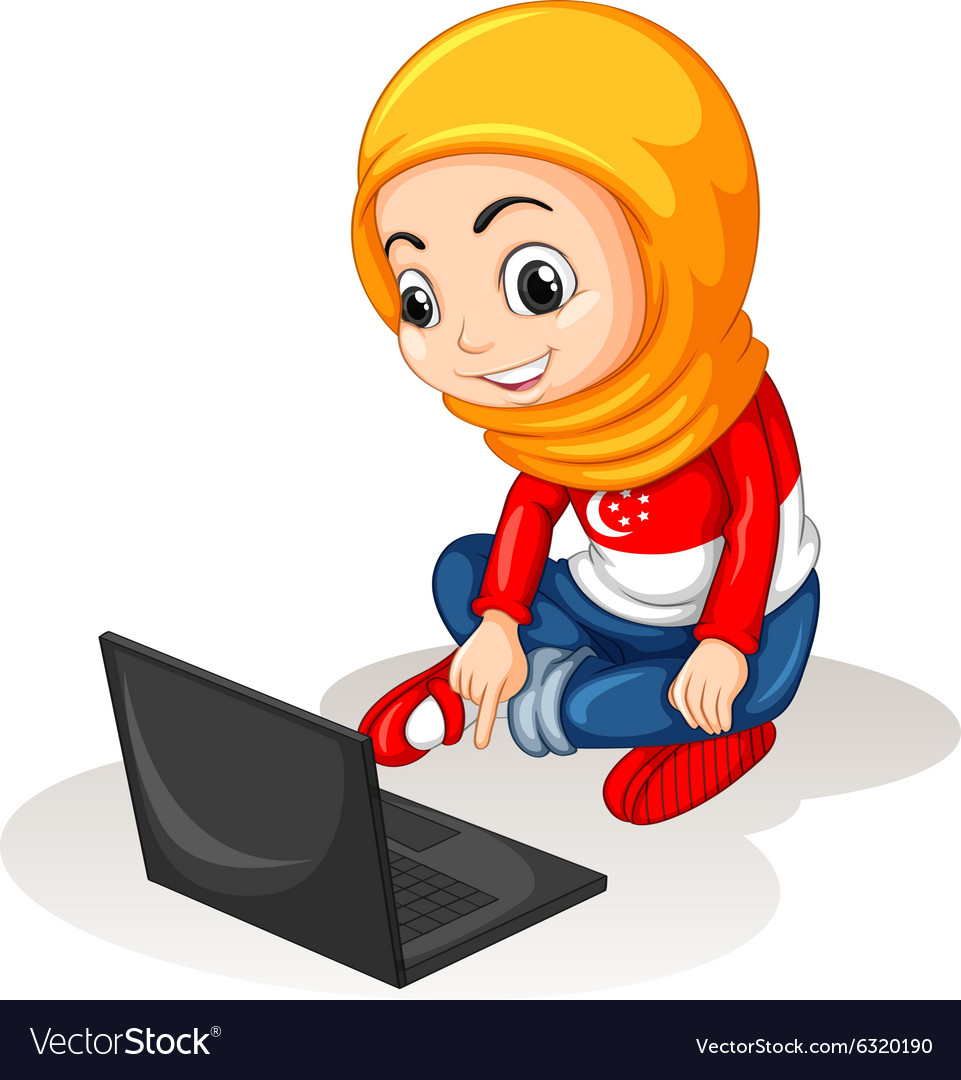 Little girl working on computer vector