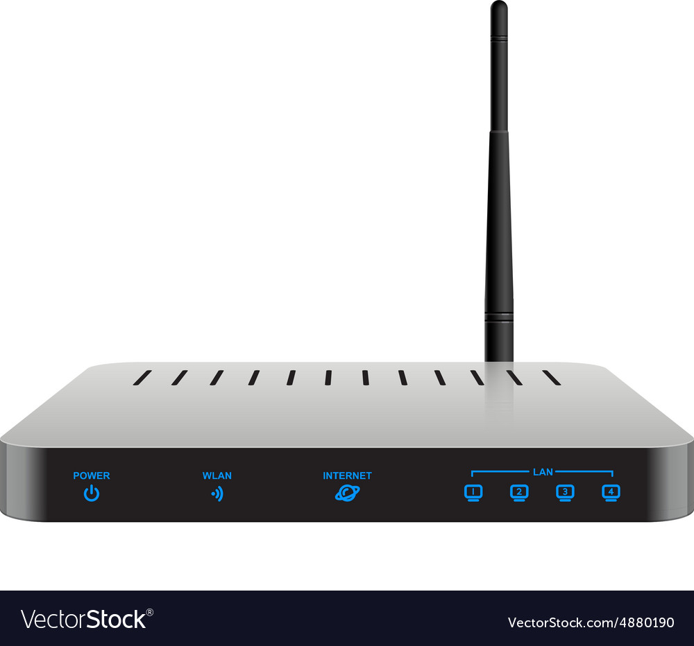 Slim realistic wireless router vector