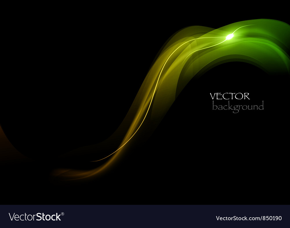Wave neon light dark curve green vector