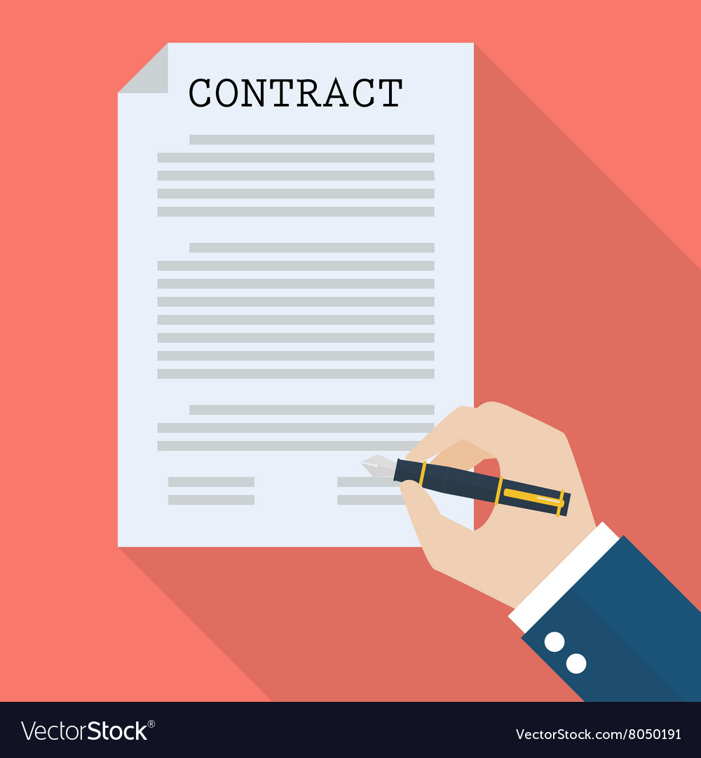 Hand signing contract vector
