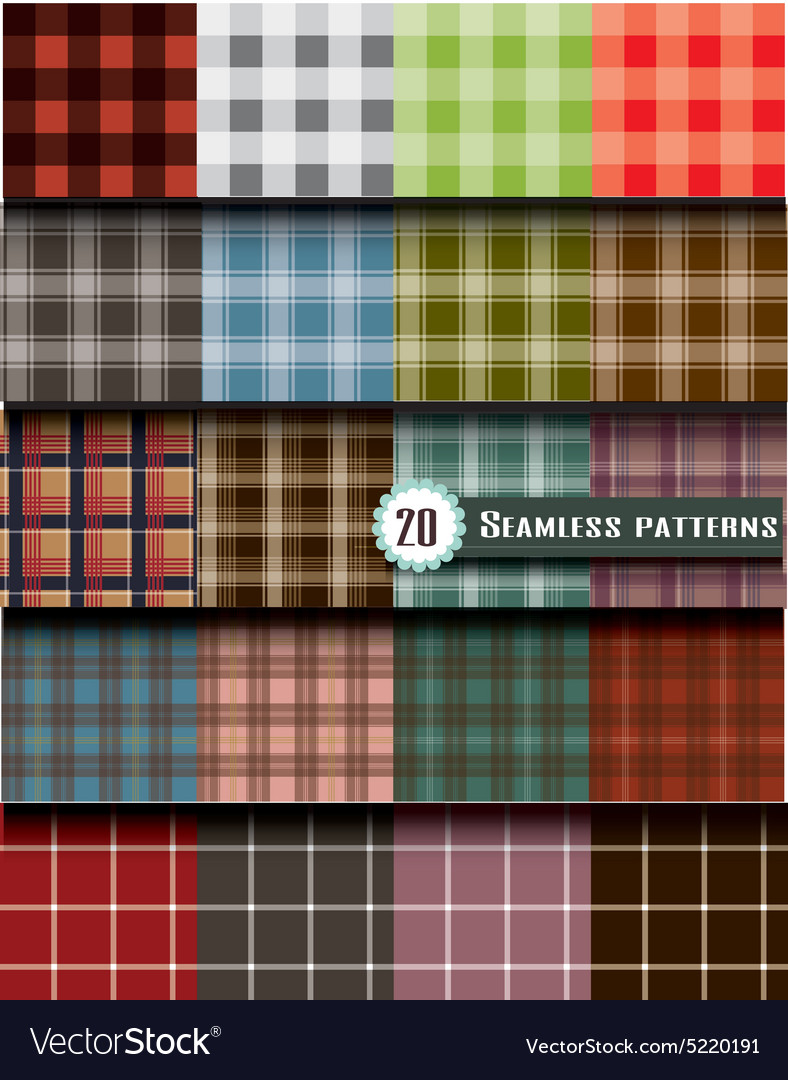 Plaid seamless pattern pattern swatches included vector