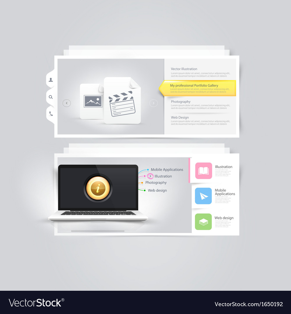 Website design elements portfolio template vector