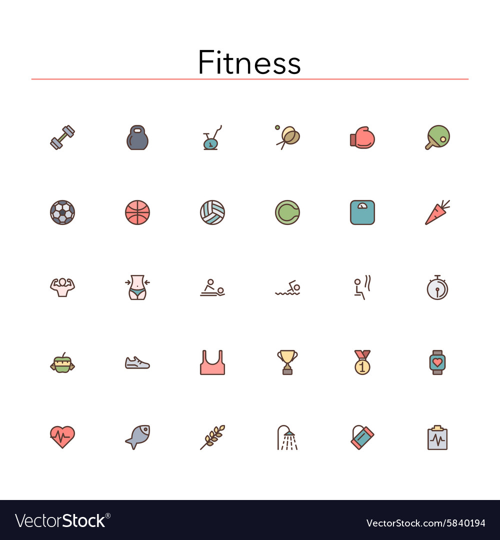 Fitness colored line icons vector