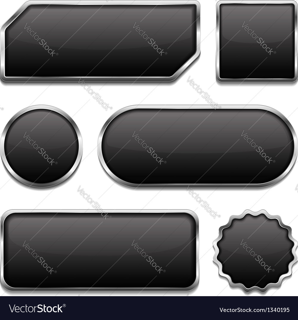 Black buttons with metallic frame vector