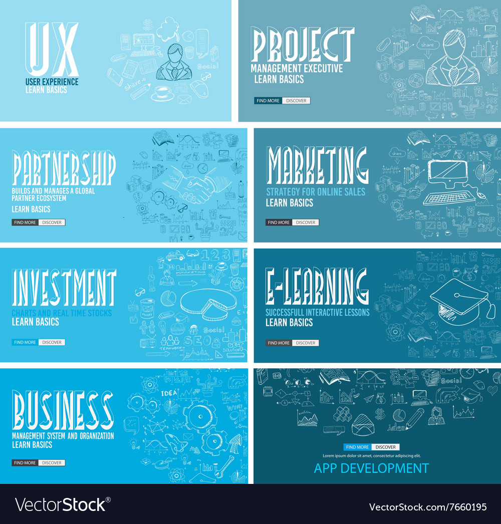 Business development concept background wih doodle vector