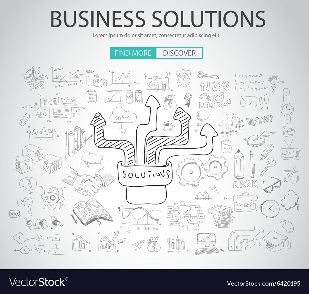 Business solutions concept with doodle design vector