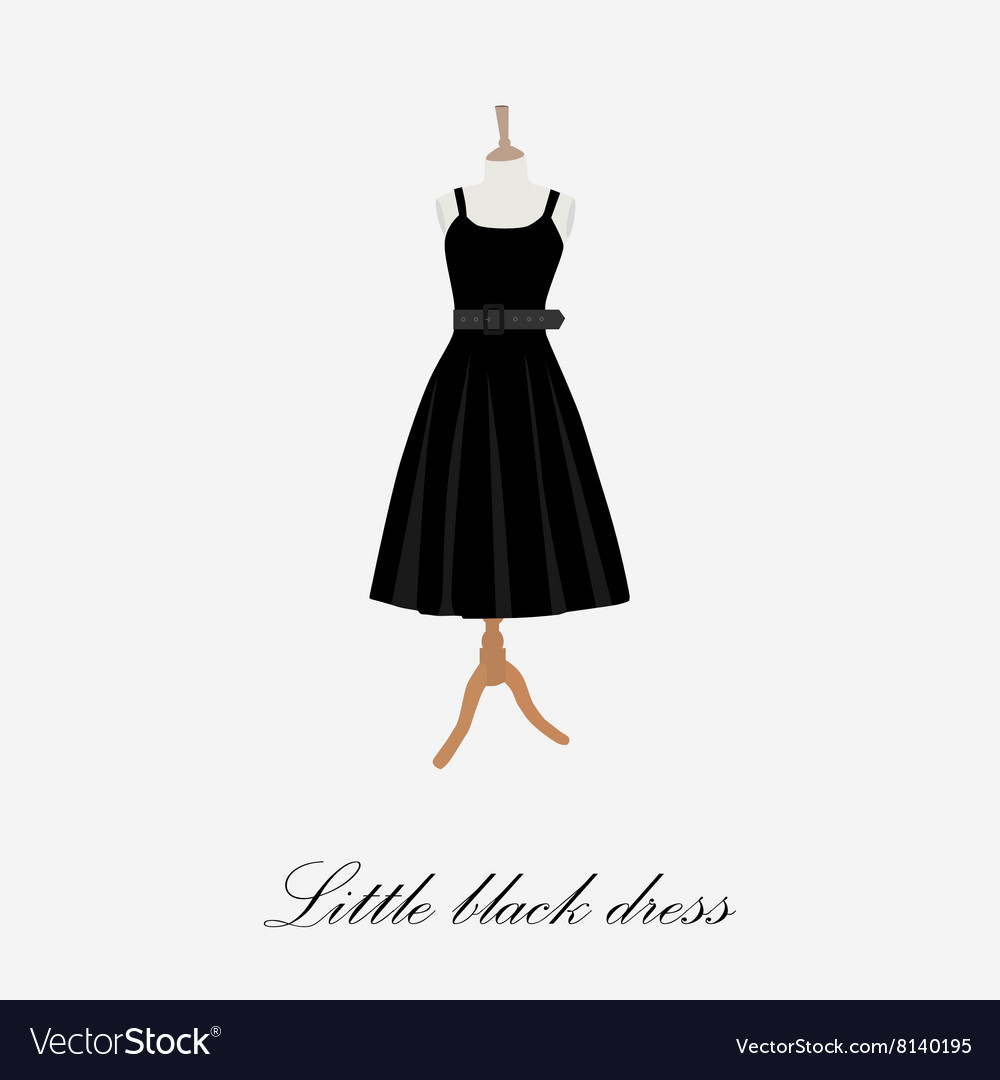Woman black dress vector