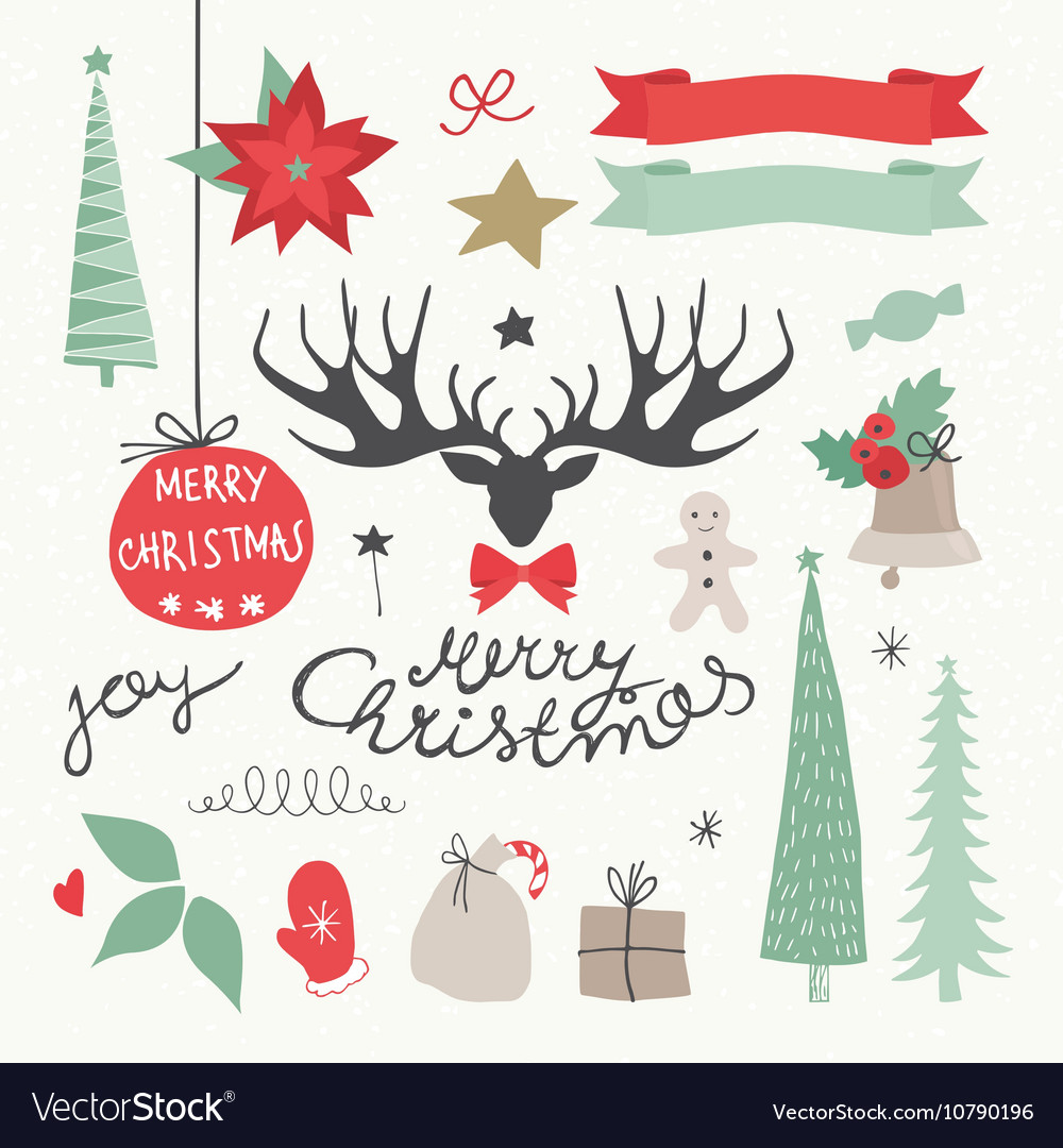 Christmas elements and symbols vector