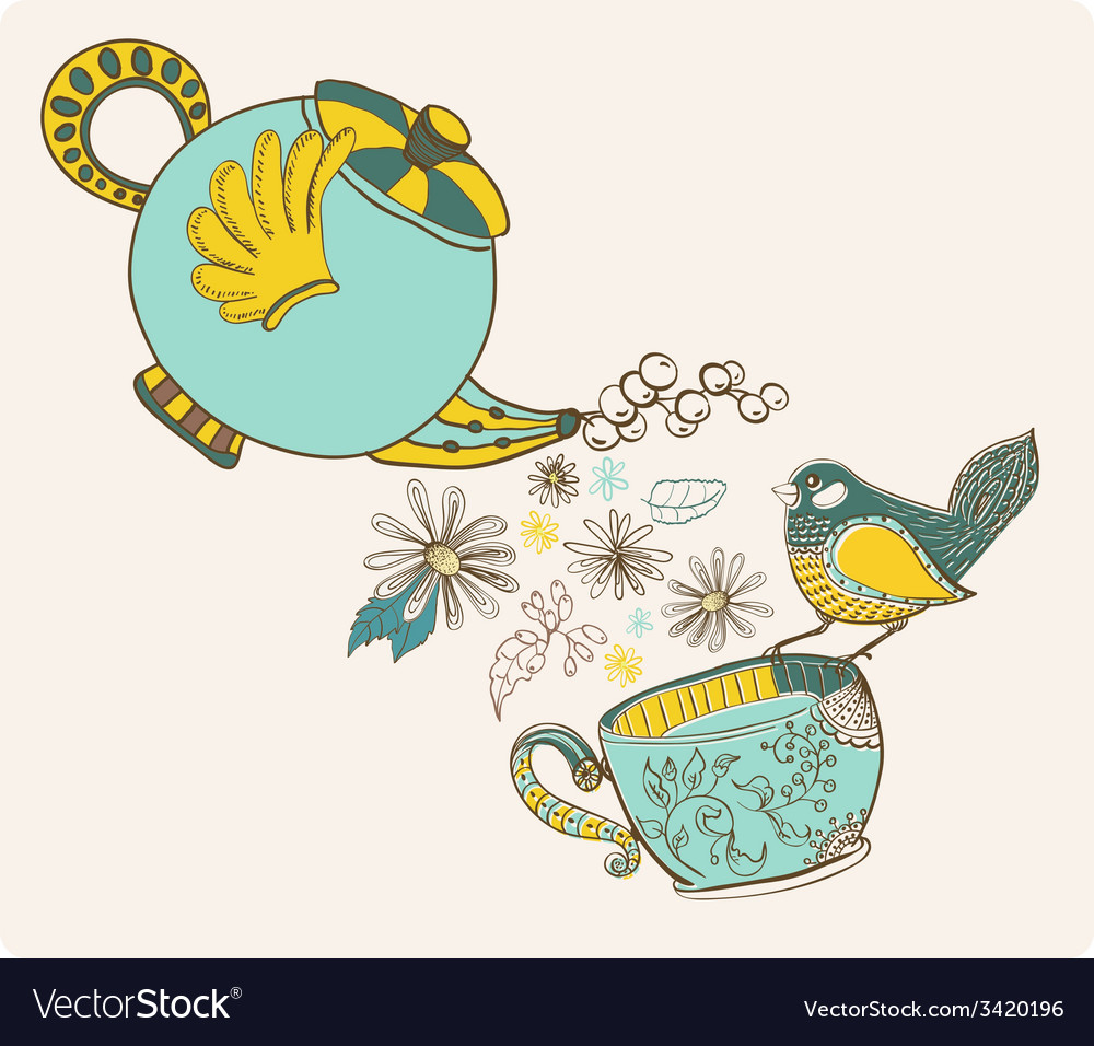 Tea time with flowers and bird vector