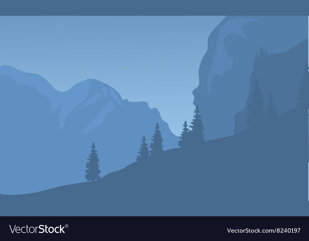 Silhouette of cliff at the night vector