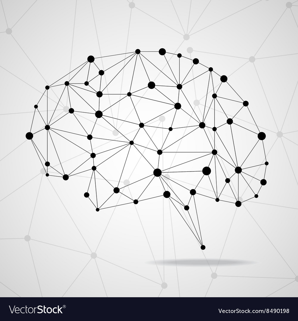 Abstract geometric brain with triangular polygons vector