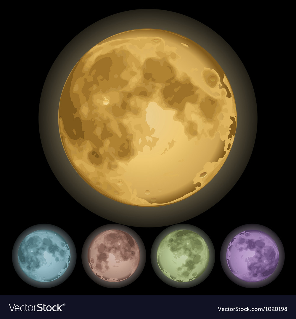 Isolated full moon vector