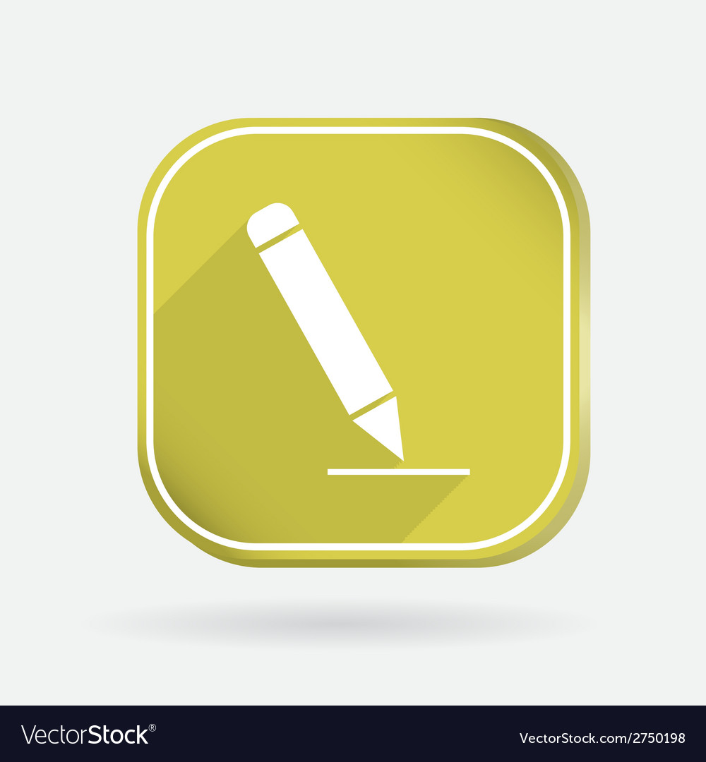 Pen writing on a sheet color square icon vector