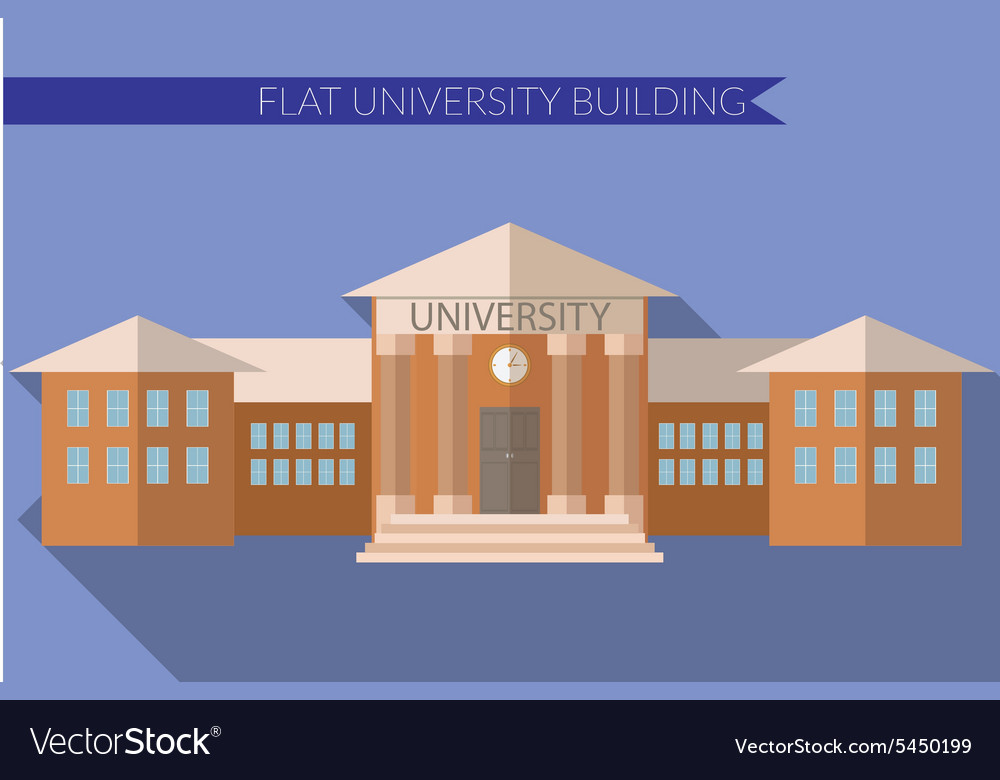 Flat design modern of university building icon vector