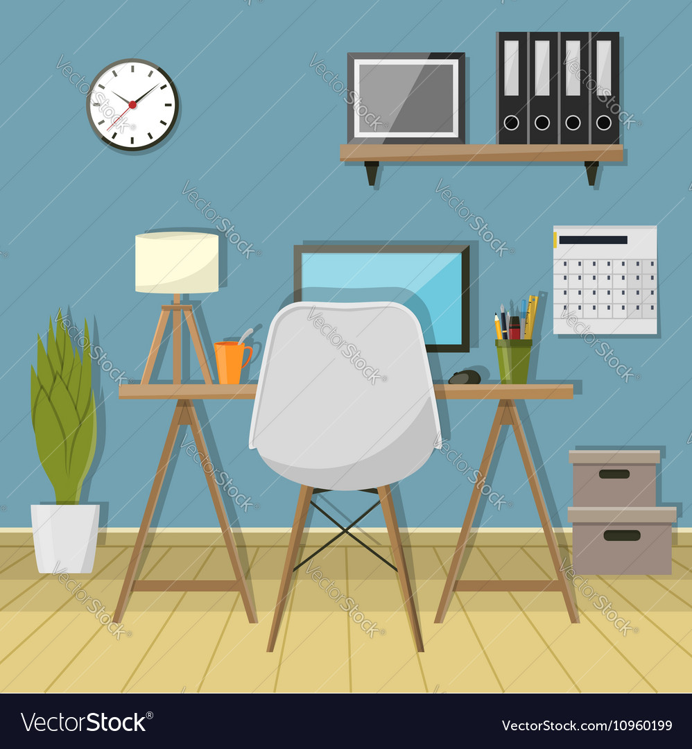 Modern workplace in room creative vector