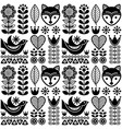 scandinavian seamless folk art pattern - black vector image