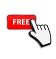 Mouse hand cursor on FREE button vector image