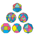Collection of 6 complex dimensional spheres and vector image vector image